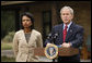 President George W. Bush delivers a statement on the situation in Georgia with Secretary of State Condoleezza Rice in Crawford, Texas, Saturday, Aug. 16, 2008. White House photo by Eric Draper