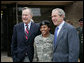 President George W. Bush and his father former President George H.W. Bush stand with Sergeant Shenika Hampton after attending an Easter church service at Fort Hood, Texas, Sunday, April 8, 2007. White House photo by Eric Draper