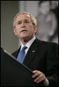 """President George W. Bush delivers remarks at the United States Holocaust Memorial Museum Wednesday, April 18, 2007. Speaking on the issue of Darfur, the President told his audience, """"Thanks to the efforts of people in this room, the world knows and the world sees. Now the world must act.""""  White House photo by Eric Draper"""