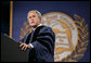 "President George W. Bush speaks to the estimated 1,500 graduates of Miami Dade College - Kendall Campus Saturday, April 28, 2007. The President told the Class of 2007, ""The opportunities of America make our land a beacon of hope for people from every corner of the world."" White House photo by Eric Draper"