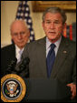 With Vice President Dick Cheney looking on, President George W. Bush delivers a statement in the Roosevelt Room of the White House Friday, Jan. 18, 2007, regarding the economy of the United States. White House photo by Joyce N. Boghosian