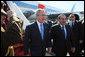 President George W. Bush walks with Egyptian President Hosni Mubarak after arriving at Sham El Sheikh International Airport, Wednesday, Jan. 16, 2008. White House photo by Eric Draper