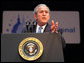 "President George W. Bush gestures as he addresses his remarks at the 2008 ""Congress of Tomorrow"" Luncheon Friday, Jan. 25, 2008, in White Sulphur Springs, West Virginia. President Bush urged the Senate to move quickly on the stimulus package to help rejuvenate the economy. White House photo by Chris Greenberg"