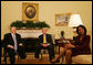 "President George W. Bush and Secretary of State Condoleezza Rice sit in the Oval Office with Rich Williamson, Special Envoy for Sudan Thursday, Jan. 17, 2008, to discuss the continuing commitment by the United States to help the citizens of Sudan. Said the President, "". One of the reasons we care about the suffering in Sudan is because we care about the human condition all across the face of the earth. And we fully understand that when people suffer, it is in our interest to help."" White House photo by Joyce N. Boghosian"