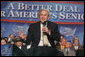 President George W. Bush addresses an audience at a Conversation on the Medicare Prescription Drug Benefit, Wednesday, April 12, 2006 at the Richard J. Ernst Community Center at Northern Virginia Community College in Annandale, Va. President Bush urged senior citizens to participate in the new Medicare drug benefit program to help reduce their drug costs. White House photo by Kimberlee Hewitt