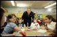 Celebrating the second anniversary of the No Child Left Behind Act, President George W. Bush visits with students at West View Elementary School in Knoxville, Tenn., Jan. 8, 2004.  White House photo by Paul Morse