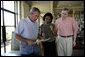 President George W. Bush meets with Secretary of State Condoleezza Rice and National Security Advisor Stephen Hadley at the Bush Ranch to discuss the Middle East, Saturday, Aug. 5, 2006.  White House photo by Eric Draper