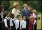 President George W. Bush thanks U.S. school children and the International Federation of Red Cross and Red Crescent Societies for their efforts to aid the victims of the school siege in Beslan, Russia, during a statement to the press on the South Lawn Friday, Sept. 24, 2004.  White House photo by Paul Morse