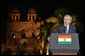 """President George W. Bush offers remarks Friday, March 3, 2006, at Purana Qila in New Delhi. The President told the audience, """"In a few days, I'll return to America, and I will never forget my time here in India. America is proud to call your democracy a friend.""""  White House photo by Paul Morse"""