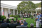 """President George W. Bush discusses the reauthorization of the No Child Left Behind Act Tuesday, Oct. 9, 2007, in the Rose Garden. """"We just had a meaningful discussion about our joint commitment to closing an achievement gap that exists in America. We discussed why reauthorizing the No Child Left Behind Act is vital in ensuring that we have a hopeful America,"""" said President Bush. White House photo by Eric Draper"""