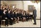 President George W. Bush visits with members of the National FFA Organization State Presidents' Conference Thursday, July 28, 2005, in the State Dining Room of the White House. Founded in 1928, the National FFA, is a youth organization that prepares middle and high school students for leadership, personal growth and successful careers through agricultural education, hands-on work experience and scholarship opportunities.  White House photo by Paul Morse