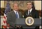 President George W. Bush announces his nomination for Secretary of Commerce, Carlos Gutierrez, in the Roosevelt Room Monday, Nov. 29, 2004. White House photo by Paul Morse