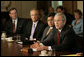 President George W. Bush offers remarks after meeting with the Cabinet Thursday, June 1, 2006, in the Cabinet Room of the White House. Among subjects discussed was the war against terror, the hurricane season, immigration and the strength of the economy. White House photo by Eric Draper