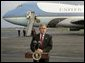 President George W. Bush delivers a statement to the media in front of Air Force One at Toledo, Ohio Express Airport, Friday, Oct. 29, 2004.  White House photo by Eric Draper