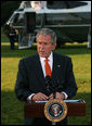 "President George W. Bush speaks to the media before departing the South Lawn of the White House for Andrews Air Force Base en route to Europe for a weeklong visit during which he will address a variety of issues with counterparts in Slovenia, Germany, Italy, Vatican City, France and the United Kingdom. Said the President, ""The U.S. economy has continued to grow in the face of unprecedented challenges. We got to keep our economies flexible; both the U.S. economy and European economies need to be flexible in order to deal with today's challenges. I'm looking forward to my trip.""  White House photo by Joyce N. Boghosian"