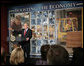 """President George W. Bush delivers a statement on the economy during his stop Friday, Feb. 1, 2008, at Hallmark Cards, Inc. in Kansas City, Mo. The President told his audience, """"I've got an agenda for Congress. I'm looking forward to working with them on how to stimulate the economy in the short-term, but make sure we remain a strong economy in the long-term. And I'm looking forward to working with them."""" White House photo by Eric Draper"""