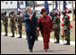 President George W. Bush and President Ellen Johnson Sirleaf of Liberia pass an honor guard Thursday, Feb. 21, 2008, during the President's visit to Monrovia, Liberia. White House photo by Eric Draper