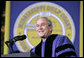 "President addresses the 2006 graduation class at Mississippi Gulf Coast Community College in Biloxi, Miss., Thursday, May 11, 2006. ""This afternoon, we celebrate commencement in a stadium that is still under repair, near streets lined with temporary housing, in a region where too many lives have been shattered -- and there has never been a more hopeful day to graduate in the state of Mississippi,"" said the President.  White House photo by Paul Morse"