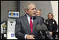 President George W. Bush stresses the importance of developing and using alternative fuels while speaking on energy issues Thursday, Sept. 28, 2006, during a visit to the Hoover Public Safety Center in Hoover, Ala. The city has just opened an alternative fueling station to provide E85 (ethanol) and biodiesel fuels for public agency vehicles. White House photo by Paul Morse
