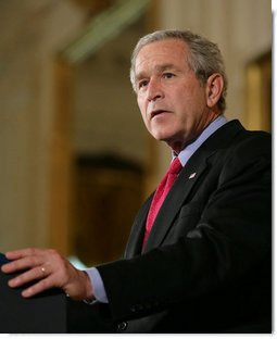 """President George W. Bush addresses his remarks on his veto of S.5, the """"Stem Cell Research Enhancement Act of 2007,"""" in the East Room of the White House Wednesday, June 20, 2007.  White House photo by Eric Draper"""