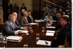"""President George W. Bush addresses the media Tuesday, Sept. 2, 2008, before participating in a briefing on Hurricane Gustav with the Cabinet. In urging continued coordination with state and local officials, the President said, """"We recognize that the pre-storm efforts were important and so are the follow-up efforts."""" White House photo by Eric Draper"""