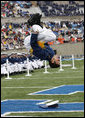 A United States Air Force Academy graduate flips after receiving his diploma during commencement exercises Wednesday, May 28, 2008, in Colorado Springs. White House photo by Eric Draper