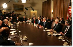 """President George W. Bush meets with members of his Cabinet Monday, Feb. 4, 2008, in the Cabinet Room of the White House. In speaking about the Budget that was sent to Congress, the President said, """"This is a good, solid budget. It's not only an innovative budget, in that it's coming to Congress over the Internet, it's a budget that's balanced -- gets to balance in 2012 and saves taxpayers money."""" White House photo by Joyce N. Boghosian"""