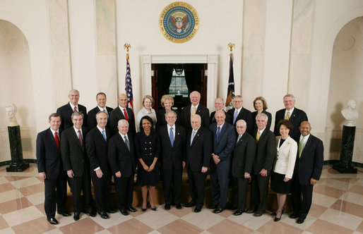President George W. Bush stands with members of his Cabinet in Cross Hall at the White House. White House photo by Eric Draper