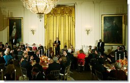 President George W. Bush delivers remarks during a social dinner for the President of Colombia Alvaro Uribe Saturday, Sept. 20, 2008, in the East Room of the White House. White House photo by Joyce N. Boghosian