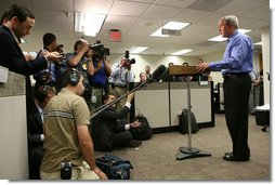 President George W. Bush makes a statement to the press after participating in a briefing on preparations for Hurricane Gustav, at the Federal Emergency Management Agency, (FEMA), Operations Center, Sunday, August 31, 2008 in Washington, DC. White House photo by Chris Greenberg