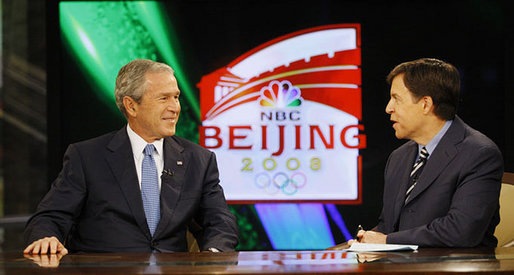 President George W. Bush speaks with Bob Costas of NBC Sports during an interview Monday, Aug. 11, 2008, while attending the 2008 Summer Olympic Games in Beijing. White House photo by Eric Draper