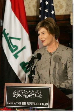 """Mrs. Laura Bush delivers remarks at the launching of the Iraq Cultural Heritage Project Thursday, Oct. 16, 2008, at the Iraq Embassy in Washington, D.C. Mrs. Laura Bush said, """"The Iraq Cultural Heritage Project will promote national unity by highlighting the rich heritage that all Iraqis share. And the Project will benefit all humanity by preserving the great historic sites, archaeological wonders, and cultural objects that tell the story of the world's earliest communities.""""  White House photo by Joyce N. Boghosian"""