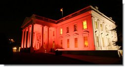 The north side of the the White House turned pink on the evening of Oct. 7, 2008 to raise awareness about breast cancer. The unique view of the North Portico and the side of the house facing Lafayette Park was in observance of Breast Cancer Awareness Month. Breast cancer awareness is a cause Mrs. Laura Bush has worked on around the world. The World Health Organization estimates that each year more than 1.2 million people worldwide are diagnosed with it and breast cancer is one of the leading causes of death for women.  White House photo by Grant Miller