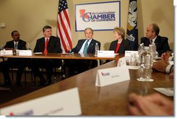 President George W. Bush participates in a roundtable discussion on the economy with local business leaders from Alexandria, Louisiana Monday, Oct. 20, 2008, at the Central Louisiana Chamber of Commerce in Alexandria, Louisiana. The President delivered a statement on the Emergency Economic Stabilization Act and the Department of the Treasury's Troubled Asset Relief Plan. Joining the President from left to right, Martin Johnson, Lance Harris, Grace Allen, and Blake Chatelain White House photo by Chris Greenberg