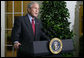 """President George W. Bush delivers a statement Friday, Sept. 26, 2008, outside the Oval Office of the White House regarding the negotiations to finalize legislation on the financial rescue package. Said the President, """"There are disagreements over aspects of the rescue plan, but there is no disagreement that something substantial must be done. The legislative process is sometimes not very pretty, but we are going to get a package passed. We will rise to the occasion. Republicans and Democrats will come together and pass a substantial rescue plan."""" White House photo by Chris Greenberg"""