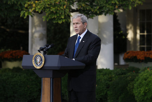 "President George W. Bush delivers a statement on the economy Tuesday, Oct. 14, 2008, from the Rose Garden of the White House. In announcing new measures America is taking to implement the G7 action plan and strengthen banks across the country, the President said, ""It will take time for our efforts to have their full impact, but the American people can have confidence about our long-term economic future. We have a strategy that is broad, that is flexible, and that is aimed at the root cause of our problem. Nations around the world are working together to overcome this challenge. And with confidence and determination, we will return our economies to the path of growth and prosperity."" White House photo by Eric Draper"