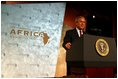 """President George W. Bush addresses the Corporate Council on Africa's U.S.- Africa Business Summit in Washington, D.C., Thursday, June 27, 2003. """"All of us here today share some basic beliefs. We believe that growth and prosperity in Africa will contribute to the growth and prosperity of the world. We believe that human suffering in Africa creates moral responsibilities for people everywhere. We believe that this can be a decade of unprecedented advancement for freedom and hope and healing and peace across the African continent,"""" President Bush said."""