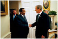 On the eve of the war in Iraq, President Bush meets with President Paul Biya of Cameroon for a bilateral meeting and dinner at the White House Thursday, March 20, 2003. The President congratulated President Biya on Cameroon's successful record of reform, and encouraged him to continue to tackle sensitive issues, such as governance and privatization. President Bush praised Biya for his leadership to resolve the Bakassi dispute peacefully. President Biya has been supportive of U.S. effort to combat international terrorism.
