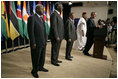 """Standing with the Presidents of Botswana, Ghana, Namibia, Mozambique and Niger, President Bush discussed the African Growth and Opportunity Act, AGOA, in the Dwight D. Eisenhower Executive Office Building Monday, June 13, 2005. """"All of us share a fundamental commitment to advancing democracy and opportunity on the continent of Africa,"""" said the President. """"And all of us believe that one of the most effective ways to advance democracy and deliver hope to the people of Africa is through mutually beneficial trade."""""""