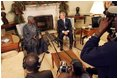 """President George W. Bush meets with Nigerian President Olusegun Obasanjo in the Oval Office Thursday, Dec. 02, 2004. """"I think it is vital that the continent of Africa be a place of freedom and democracy and prosperity and hope, where people can grow up and realize their dreams,"""" President Bush said after the meeting. """"It's a continent that has got vast potential, and the United States wants to help the people of Africa realize that potential."""""""
