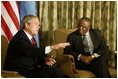 """President George W. Bush begins participation in meeting with the President Festus Magae of Botswana in Gaborone, Botswana, Thursday, July 10, 2003. """"We're thrilled to be here. You have been a very strong leader,"""" said President Bush during their joint press conference. """"First, I want to commend you for your leadership. I appreciate your commitment to democracy and freedom, to rule of law and transparency. I want to congratulate you for serving your country so very well."""""""