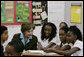 Mrs. Laura Bush talks with fifth-grade students during a Malaria Awareness Day event Wednesday, April 25, 2007, at the Friendship Public Charter School on the Woodridge Elementary and Middle School campus in Washington, D.C. White House photo by Shealah Craighead