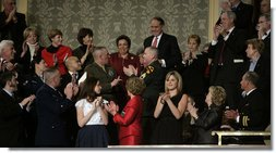 Former Senator Bob Dole and former Cabinet Secretary Donna Shalala are recognized and applauded in the First Lady's box Monday evening, Jan. 28, 2008 at the U.S. Captiol, during the State of the Union Address by President George W. Bush. Dole and Shalala were selected by President Bush to co-chair the President's Commission on Care for America's Returning Wounded Warriors. White House photo by Eric Draper