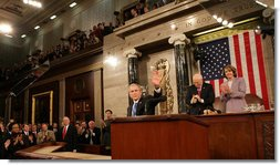 President George W. Bush receives applause at the State of the Union Address Monday, Jan. 28, 2008, at the U.S. Capitol. Vice President Dick Cheney and Speaker of the House Nancy Pelosi are seen back right. White House photo by Eric Draper