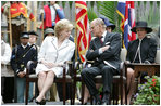 Mrs. Lynne Cheney speaks with His Royal Highness The Prince Philip, Duke of Edinburgh, Friday, May 4, 2007 during a ceremony at Jamestown Settlement in Williamsburg , Virginia. Her Majesty Queen Elizabeth II and Prince Philip joined Vice President Dick Cheney and Mrs. Cheney for a visit to Jamestown to mark the 400th anniversary of the historic site. White House photo by David Bohrer