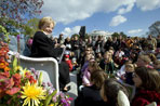 "Lynne Cheney reads from her book, ""America: A Patriotic Primer,"" at the White House Easter Egg Roll Monday, April 21, 2003. Accompanying Mrs. Cheney, several Cabinet members and authors also read to children during the day."