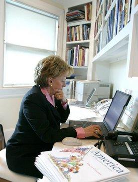Lynne Cheney responds to questions during a Web chat on