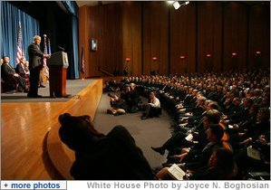 President George W. Bush addresses his remarks Thursday, Oct. 30, 2008, at the graduation ceremony for FBI special agents in Quantico, Va. President Bush congratulated the special agents on their graduation accomplishment and thanked them for stepping forward to serve their country. White House photo by Joyce N. Boghosian