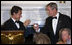 President George W. Bush and President Nicolas Sarkozy of France raise their glasses in toast Tuesday, Nov. 6, 2007, during dinner in the State Dining Room in the honor of the French leader.