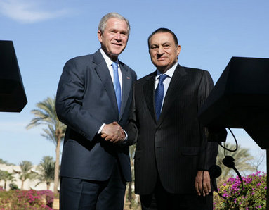 President George W. Bush and Egypt's President Hosni Mubarak shake hands after their joint availability Wednesday, Jan. 16, 2008 in Sharm El Sheikh, Egypt. President Bush visited the seaside town on the final stop of his eight-day, Mideast trip. White House photo by Chris Greenberg